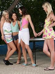 Avidat, Britta, Geena and Briget - Four stunning teens rub and tongue